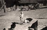 Füttern der Hühner auf dem Keudelstein