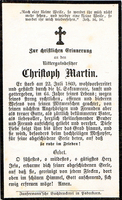 Sterbebild-Andenken des Gutsbesitzers Christoph Martin
