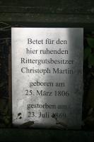 Gedenktafel am Grab des Gutsbesitzers Christoph Martin