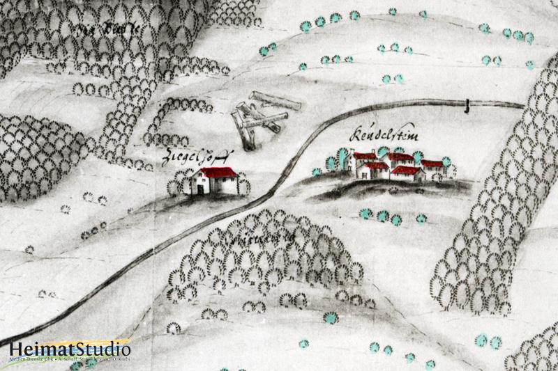 Das Rittergut in einer Kartendarstellung (um 1600)